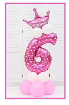16 шт./упак. розового и голубого цвета для детей 0-9 цифры Большие Гелиевые номер Фольга детей фестивалей Dekoration День рождения шляпа игрушки для детей - Цвет: pink 6
