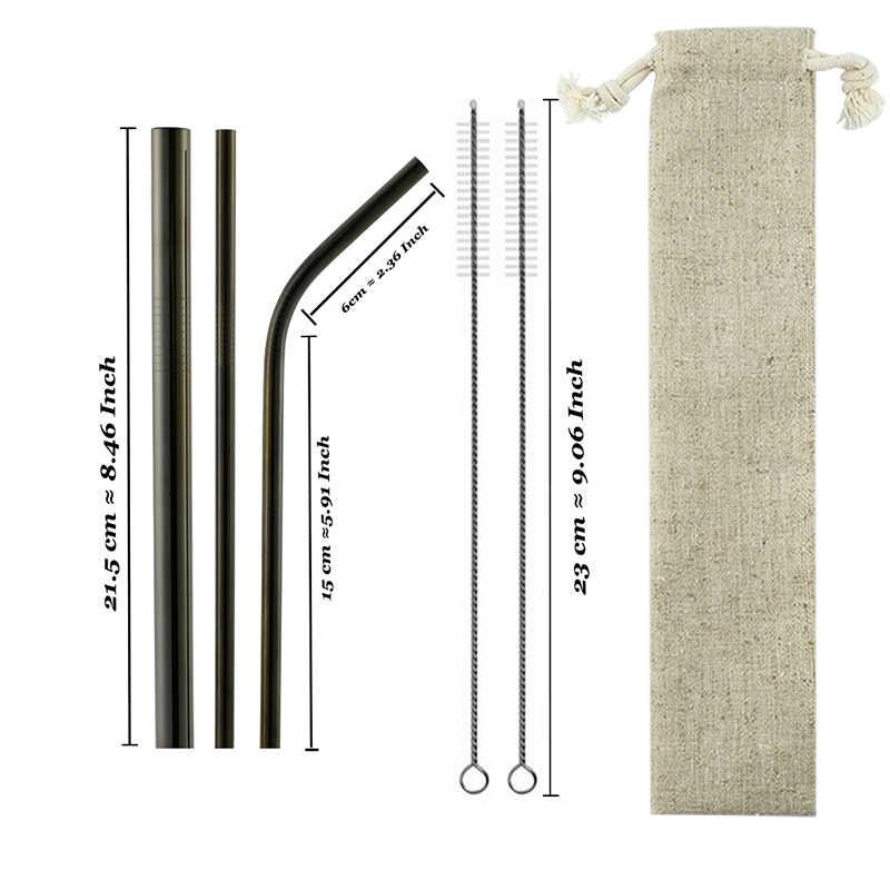 6 adet kullanımlık 304 paslanmaz çelik gökkuşağı saman Metal Smoothies içme düz payet silikon kapak ile fırça çantası toptan