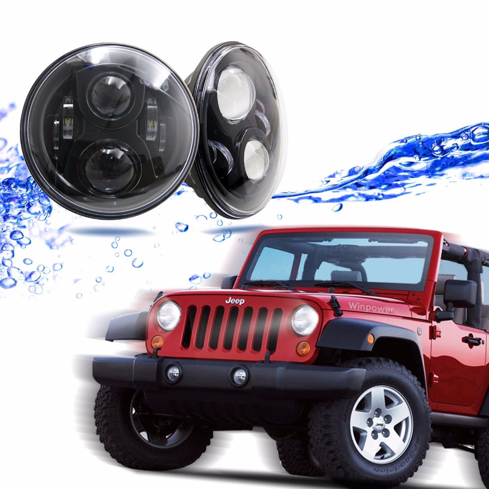 2 PCS x 7 LED Headlights For Harley Motorycle Jeep Wrangler JK TJ Driving Lamp 7 Inch Projector Headlight Assembly