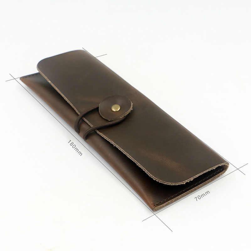 KACDYSI ручной работы, винтажная кожаная мужская сумка унисекс для ручек, Ретро Держатель для кистей, косметический пенал для монет, хит продаж