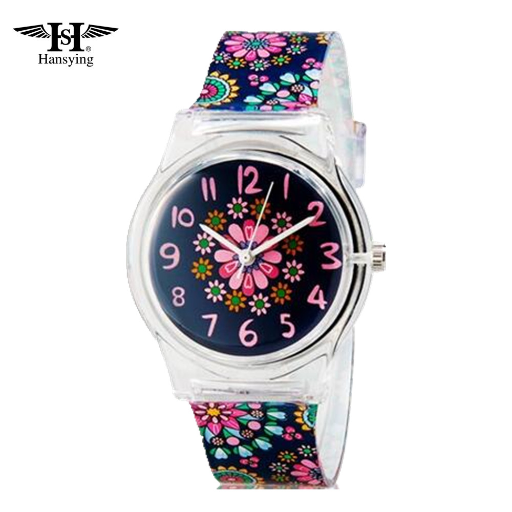 Hansying Mini Student's Kid's Women's Flowers Analog Quartz Armbåndsur