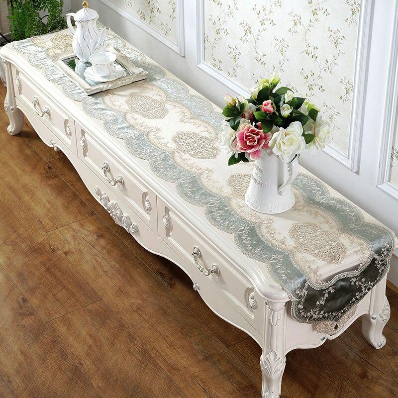 Brodé Dentelle Chemin de Table TV Banc Stand Fin Couverture De Table Décoration 40x150 180 220 250 cm Blanc Champagne vert