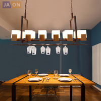 led e27 retro American Iron Glass wood Wine Shelf LED Lamp LED Light.Pendant Lights.Pendant Lamp.Pendant light For Dinning Room