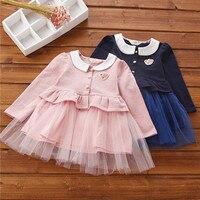 High Quality 2018 Spring Korean Style Girls Children Dress Kids Girls All Match Fashion Embroidery Dress