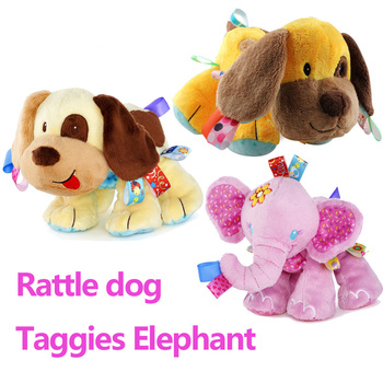 Taggies Elephant Rattle dog Soft Stuffed Plush Animal Crib Bed Hanging Hand newborn Baby Toys Educational Rattles Kid gift Dolls