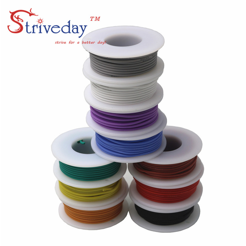 10 meters 32.8 ft 26AWG Flexible Rubber Silicone Wire Tinned copper line DIY Electronic cable 10 colors to choose from