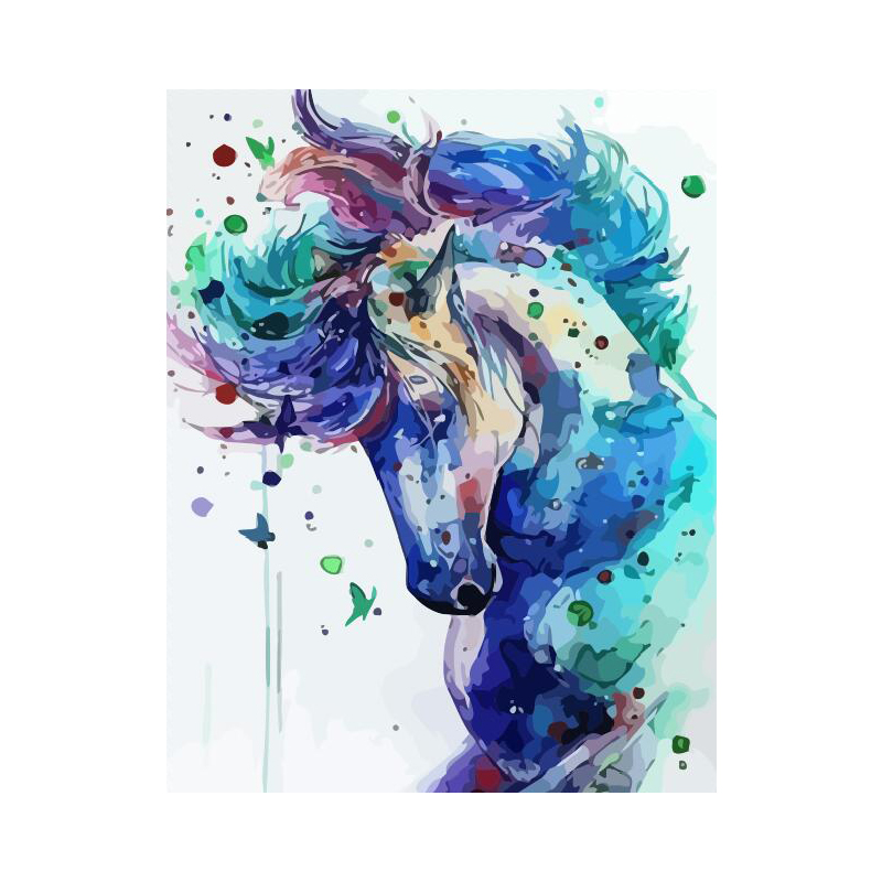 Colorful Horse Blue Animal DIY Digital Painting By Numbers Modern Wall Art Canvas Painting Unique Gift Home Decor 40x50cm