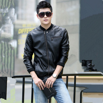 2017 Men Leather Jacket Fashion Slim Stand Collar Solid Plus Size Leather Coat For Male Outerwear Black M-5XL High Quality