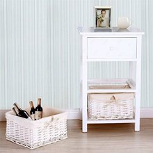 White Nightstand End Table with 2 Baskets muebles de dormitorio side table Bedside Table US Shipping HW53924(China)