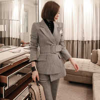 BGTEEVER OL Style Irregular Plaid Pant Suit for Women Notched Blazer Jacket & Flare Pants Elegant 2 Pieces Set Female Suits 2018