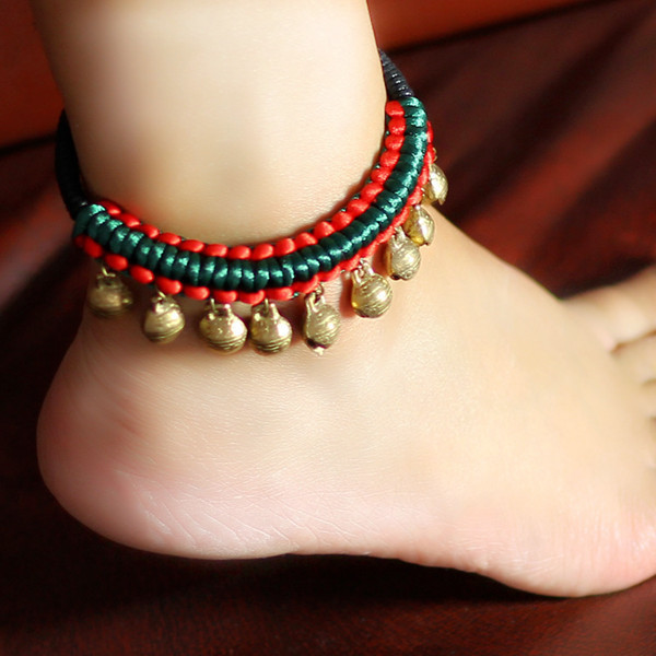 Beautiful Handmade Hing Quality Anklet Hanging Jingly Copper Bells Chinese  Silk String Unique Original Ethnic Jewelry FREE SIZE 4179898e1