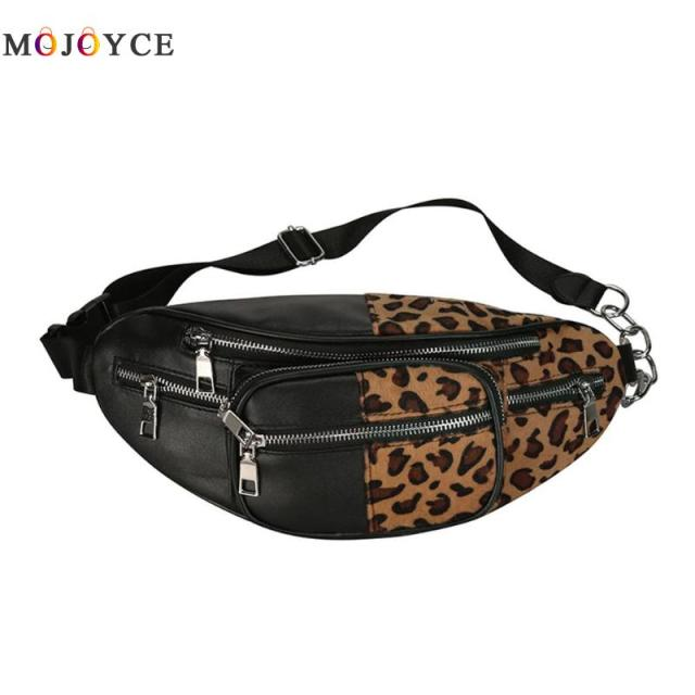 Street Style PU Leather Waist Pack Women Girls Leopard Zebra pattern Fanny Pack Pouch Bum Bag