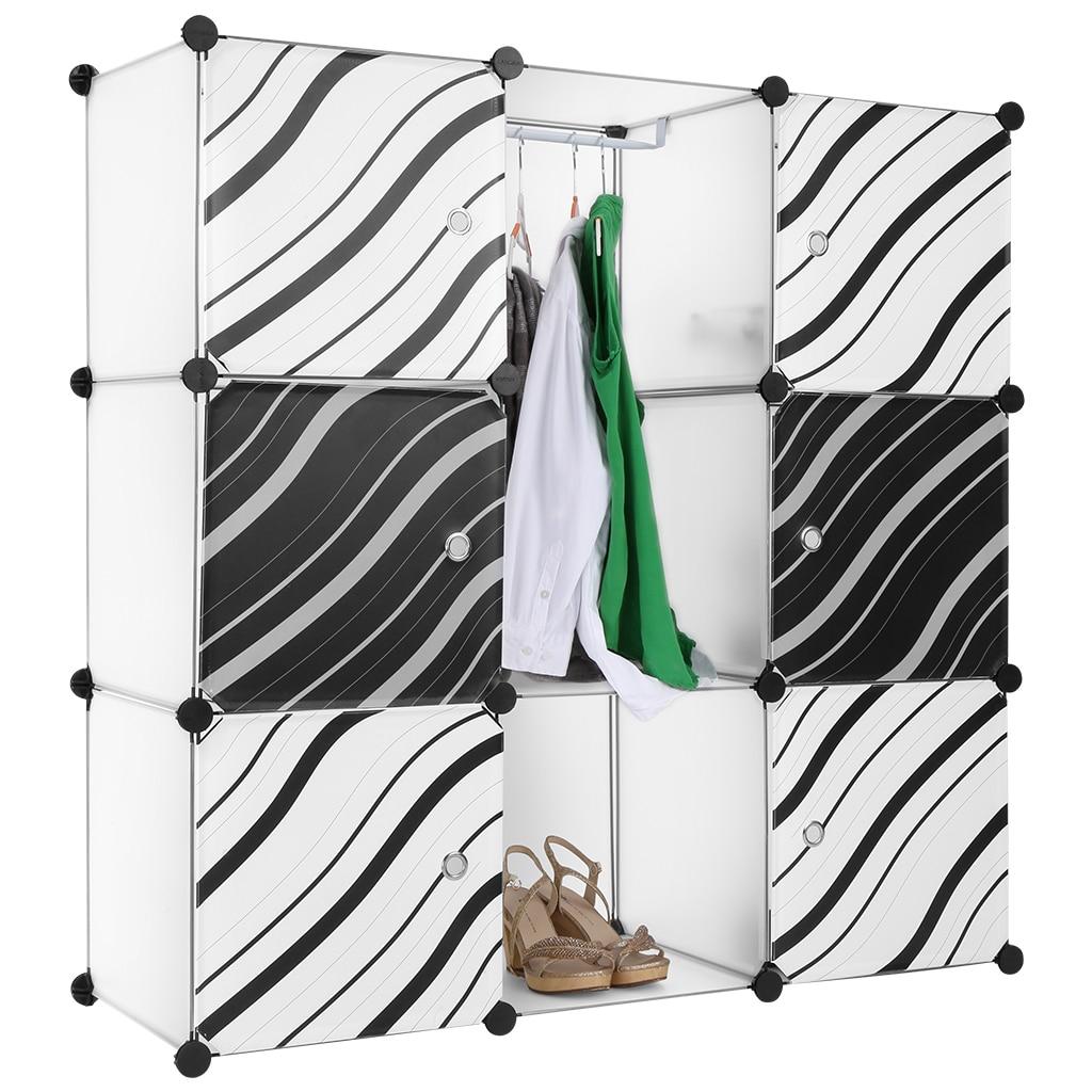 LANGRIA 9 Cube Translucent White Interlocking Modular Storage Organizer  Shelving System Closet Wardrobe Rack With Zebra Stripe In Wardrobes From  Furniture ...
