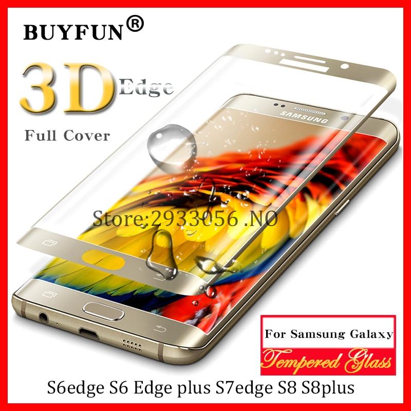 S7 edge glas Tempered Glass For Samsung Galaxy S8 S8plus glas S6 edge plus S7 edge Case 3 D Full Cover Screen Protector Film S7