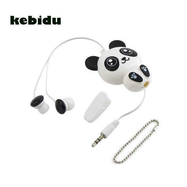 Kebidu 3.5mm 유선 귀여운 팬더 개폐식 이어폰 이어폰 스마트 폰용 헤드폰 헤드셋 어린이를위한 MP3 생일 선물