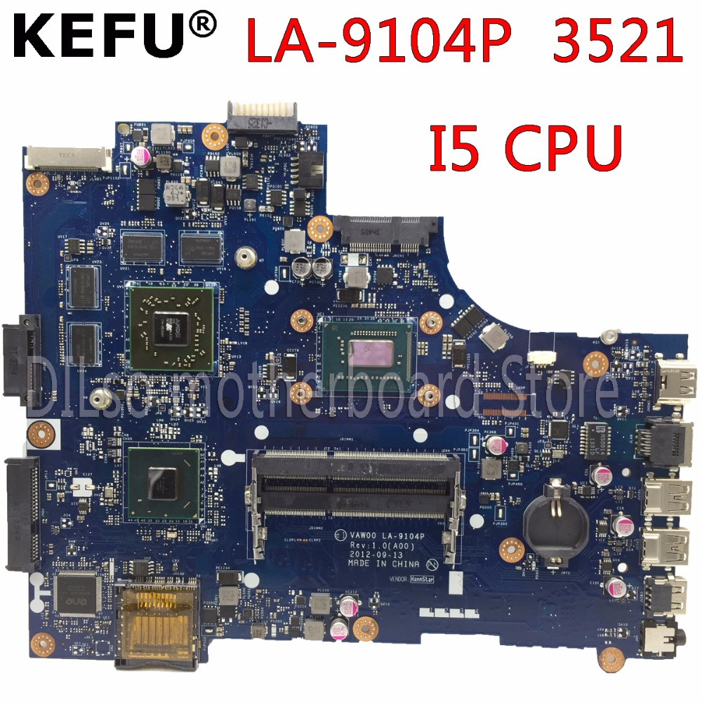 KEFU LA-9104P motherboard for dell 3521 5521 laptop motherboard la-9104p dell motherboard i5 CPU orginal tested motherboard kefu x555ld for asus x555ld r557l laptop motherboard rev2 0 1 1 3 1 3 3 i5 cpu motherboard tested motherboard
