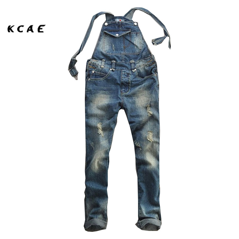 2017 Summer Fashion Casual Men's Cool Ripped Hole Blue Denim Overalls Male Jeans Jumpsuits Suspenders Trousers Playsuits For Man spring summer autumn winter women jeans overalls suspenders trousers spaghetti strap denim pants frock jumpsuit blue calca jeans