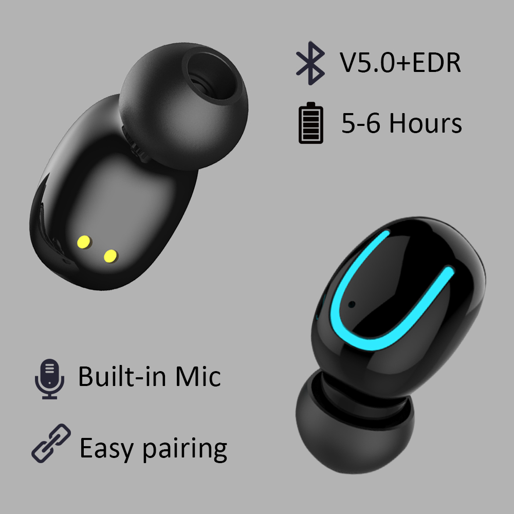 Invisible 5.0 Bluetooth Earphone Mini Bluetooth Earphone Q13S TWS Wireless Earphones Earbuds with 6 Hour Music Easy Auto Pairing