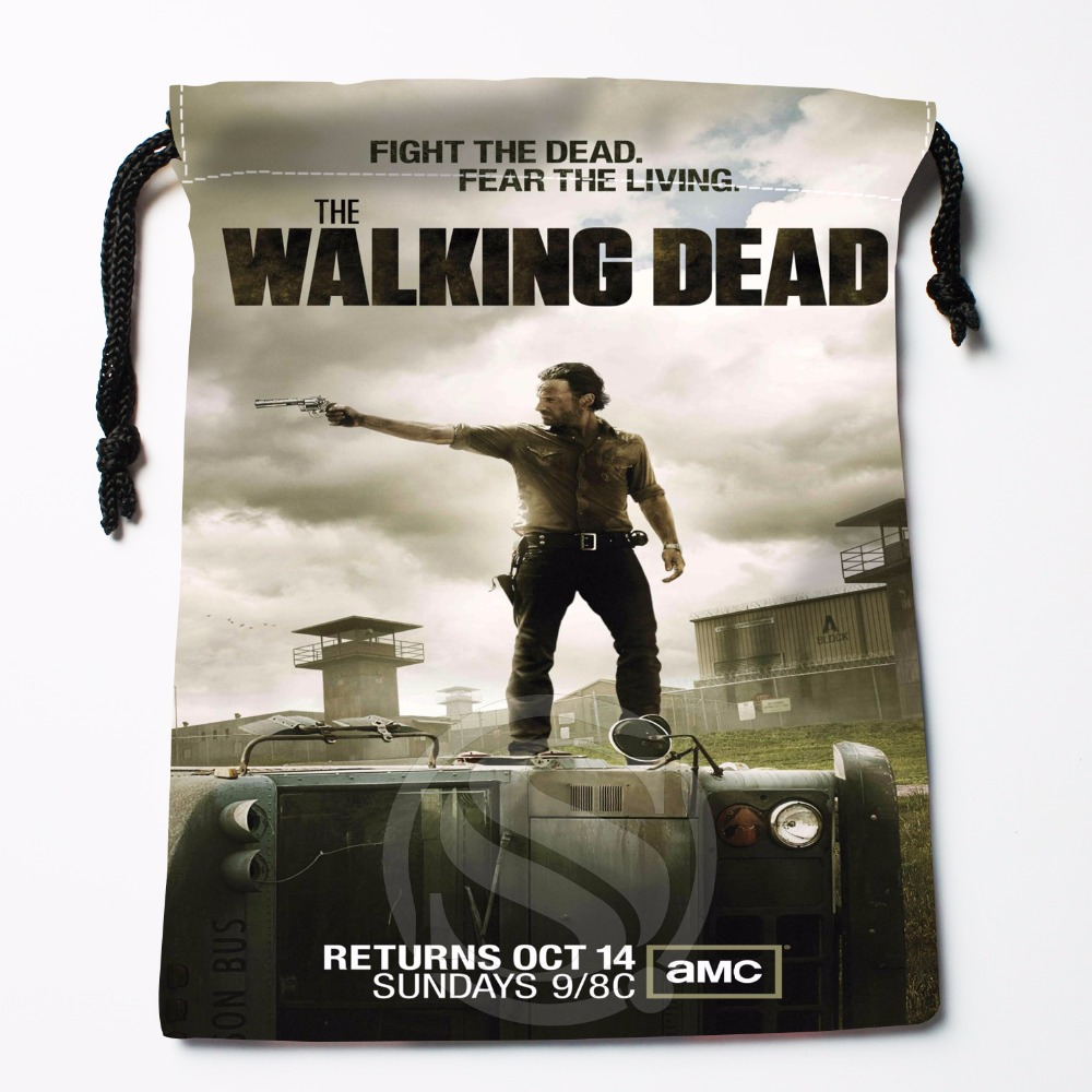 Fl-Q8 New The Walking Dead Season #3 Custom Logo Printed  Receive Bag  Bag Compression Type Drawstring Bags Size 18X22cm 711-#F8