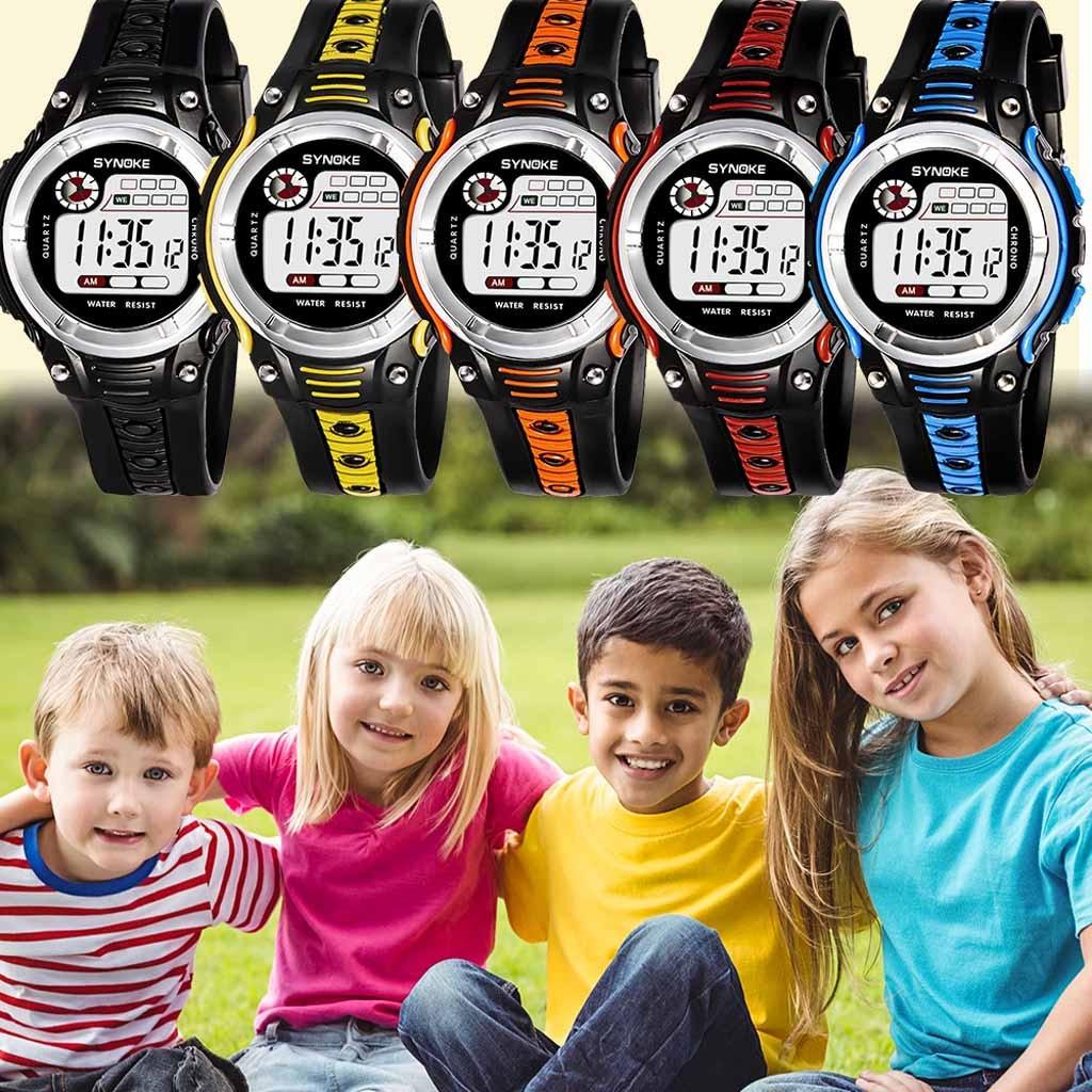 SYNOKE Цифровые часы детские Двухцветный Большой Экран Студент Дети% 27 лет Спорт Водонепроницаемый Электронный Часы orologi bambini +% 23N03