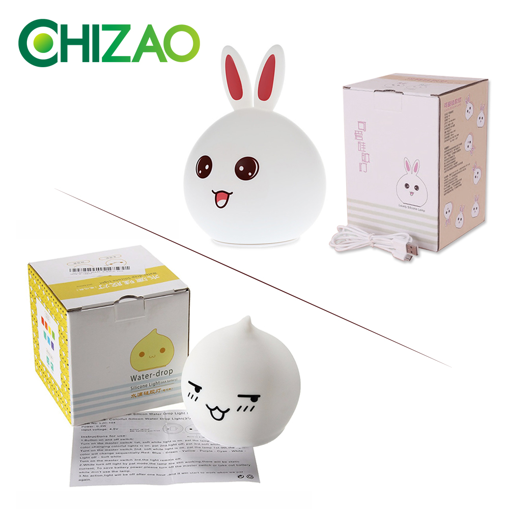 Купить с кэшбэком CHIZAO LED RGB water droplets silicone night light mini baby bedside lamp sleep light children color gift atmosphere light