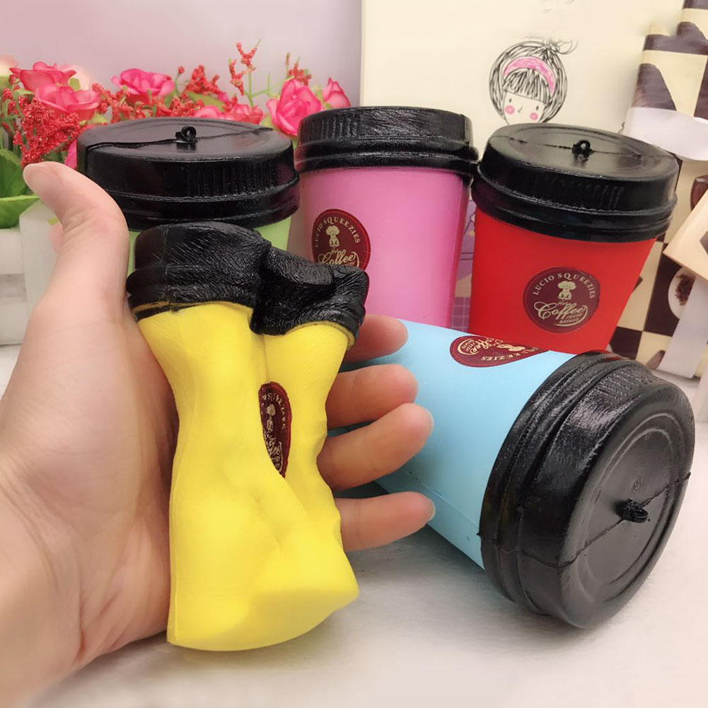 New 1Pc Color Random Cute Slow Rising Jumbo 11CM Coffee Cup Phone Strap Kawaii Pendant Stretchy Bread Cake Kids Fun Toy Gift