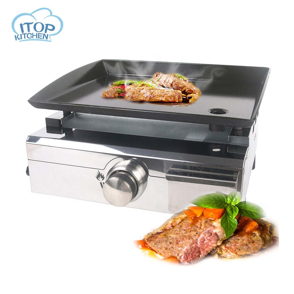 ITOP Single Burner Plancha LPG Gas Griddle Outdoor BBQ Grill 42 x 34cm Enamel Coating Stainless Steel Material