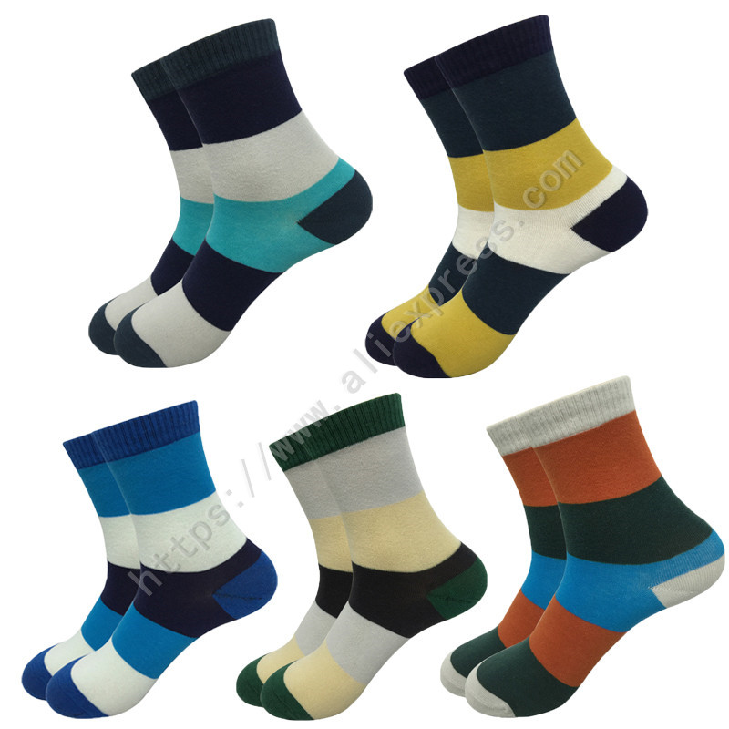 5Pair New Style Fashion Brand Men Socks Male Casual Colorful Striped Cotton Socks Men Crew Business Dress Socks Calcetines