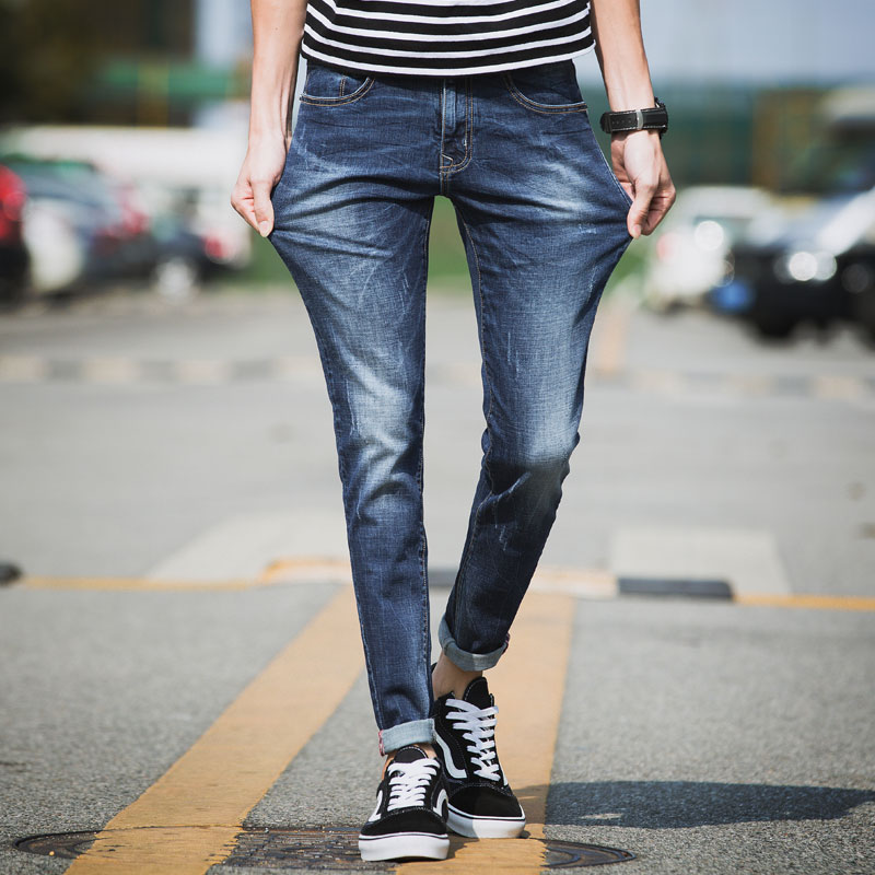 2017 Men's Straight Slim Fit Moto Biker Jeans Regular Tapered Leg Denim Pants Soft Elastic Skinny Jeans (Blue) inc international concepts new navy elastic waist tapered leg soft pants 10 $69
