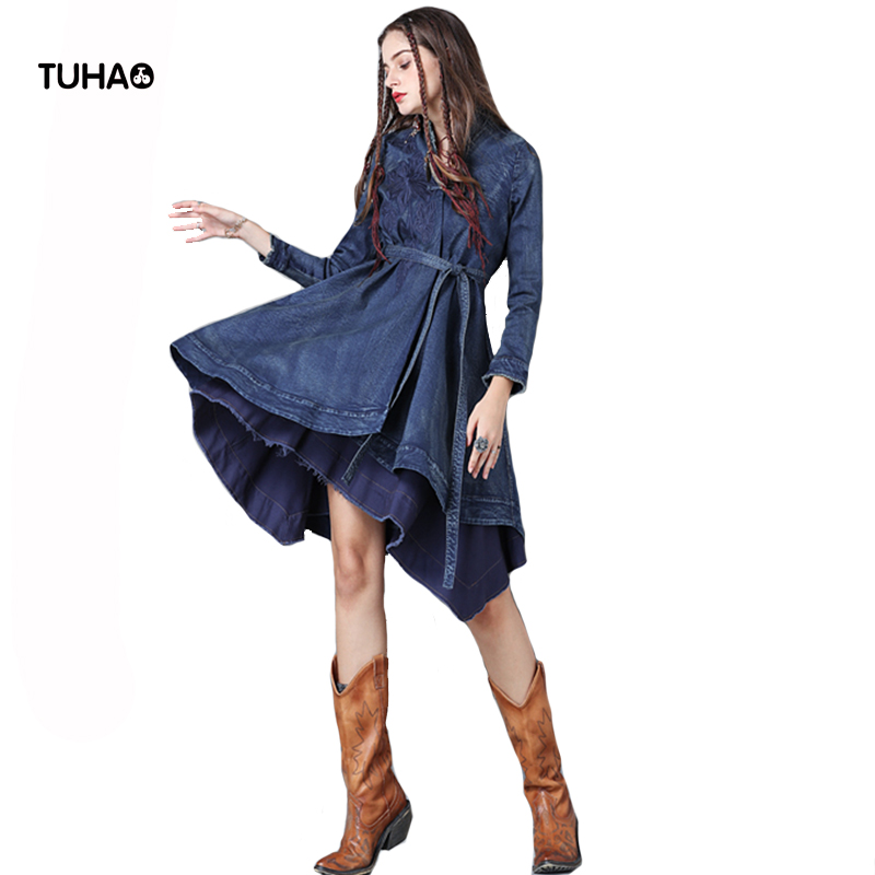 TUHAO Geometric Embroidery Denim   Trench   Coat For Women Asymmetric Vintage Coats With Sashes Outerwear Overcoats TB9223