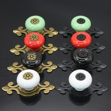 20Pcs / Set Ceramic Handles 40mm Drawer Knobs Cupboard Door Single Hole Cabinet with screws Furniture