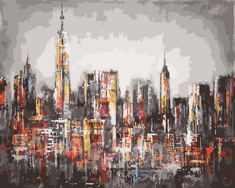 Diy peinture par numéros New York City Building Rétro abstrait paysage urbain peinture à l'huile coloration par des numéros avec un cadre
