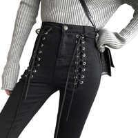 Jeans Women Fashion Lace-Up Zip Ankle-length Pants 2019 New Slim Black Pencil Pants Female High Waist Jeans Skinny Streetwaer