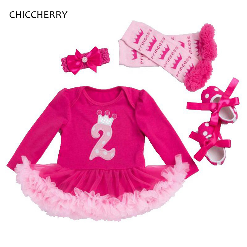 2nd Toddler Birthday Outfits Lace Petti Romper Dress Headband Crib Shoes Leg Warmers 4PCS Baby Girl Clothes Sets Infant Clothing