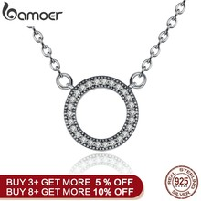 BAMOER 925 Sterling Silver Hearts Of Brand Clear Round Shape CZ Pendant Necklaces for Women Party Jewelry PSN010(China)