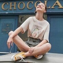 ARTKA 2019 Yaz % 100% Pamuk Kadın T-Shirt Moda Avokado Baskı O-boyun Rahat Gevşek kısa kollu tişört Kadınlar Için TA12191X