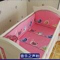 ¡ Promoción! 5 UNIDS Pink Bebé Juego de Cama Para Los Niños Chica Juego de Cama Niños Cuna Parachoques, incluya: (bumpers + hoja)