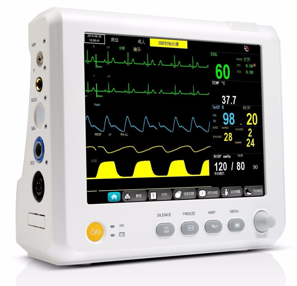 8 inch Parameter TEMP, Pulse Rate, Respiration, ECG, SPO2, NIBP Digital ICU Patient Vital Signs Monitor replacement for vital signs monitor medical twslb 008 hylb 1049 m3 ecg machines battery