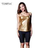Sexy Patent Leather Spaghetti Strap Top Women Sleeveless Backless Low Cut Tank Tops Solid Gold Silver Pink 2018 Camis Night Club
