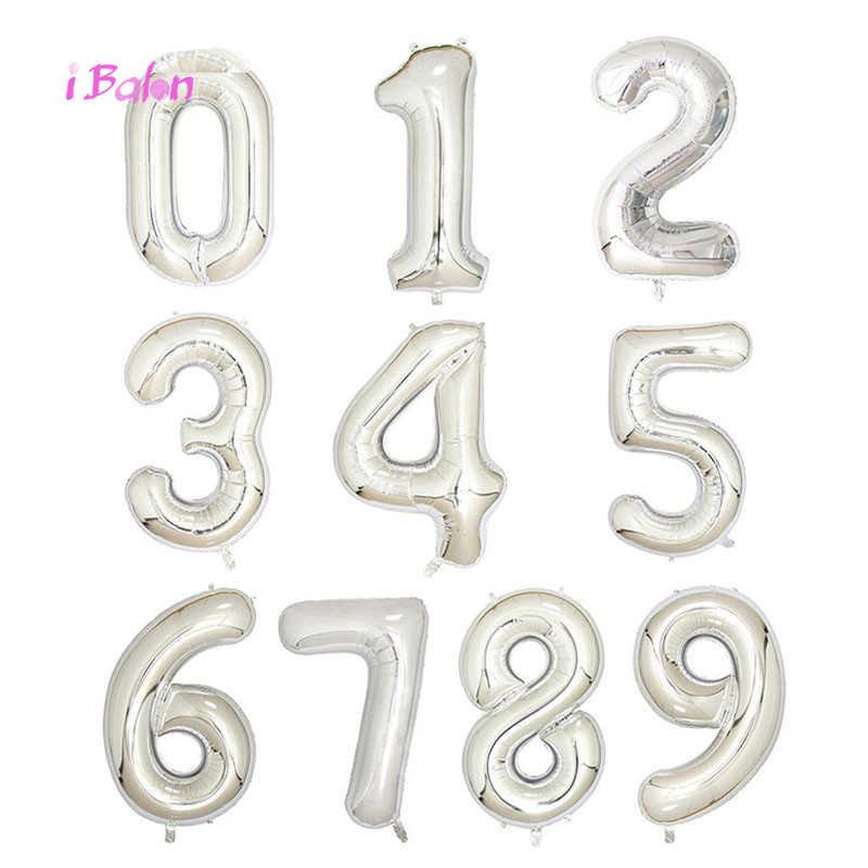 40 дюймов розовое золото номер фольги Воздушные шары 1 шт. красный и черный и фигурка из серебра цифровые гелиевые шары Свадебные украшения на день рождения
