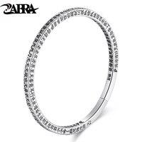 ZABRA Solid Sterling Silver Religion Buddhism Bangle Men Women Open Cuff Bracelets For Men Vintage Retro Silver Jewelry For Male