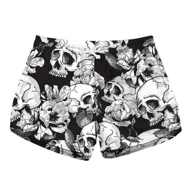 fb62486b81e85f 2019 Fashion Zomer Vrouwen Korte Strand Board Shorts 3D skull Print  Elastische taille Losse Toevallige Mode Sexy Plus size