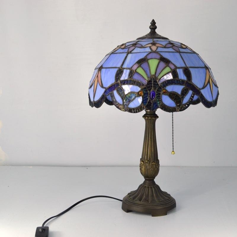 Baroque Table De 12 Tiffany Européen Lampe Classique Vitrail Pouces zpUMVS