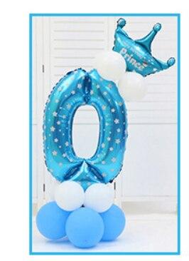 16 шт./упак. розового и голубого цвета для детей 0-9 цифры Большие Гелиевые номер Фольга детей фестивалей Dekoration День рождения шляпа игрушки для детей - Цвет: blue 0
