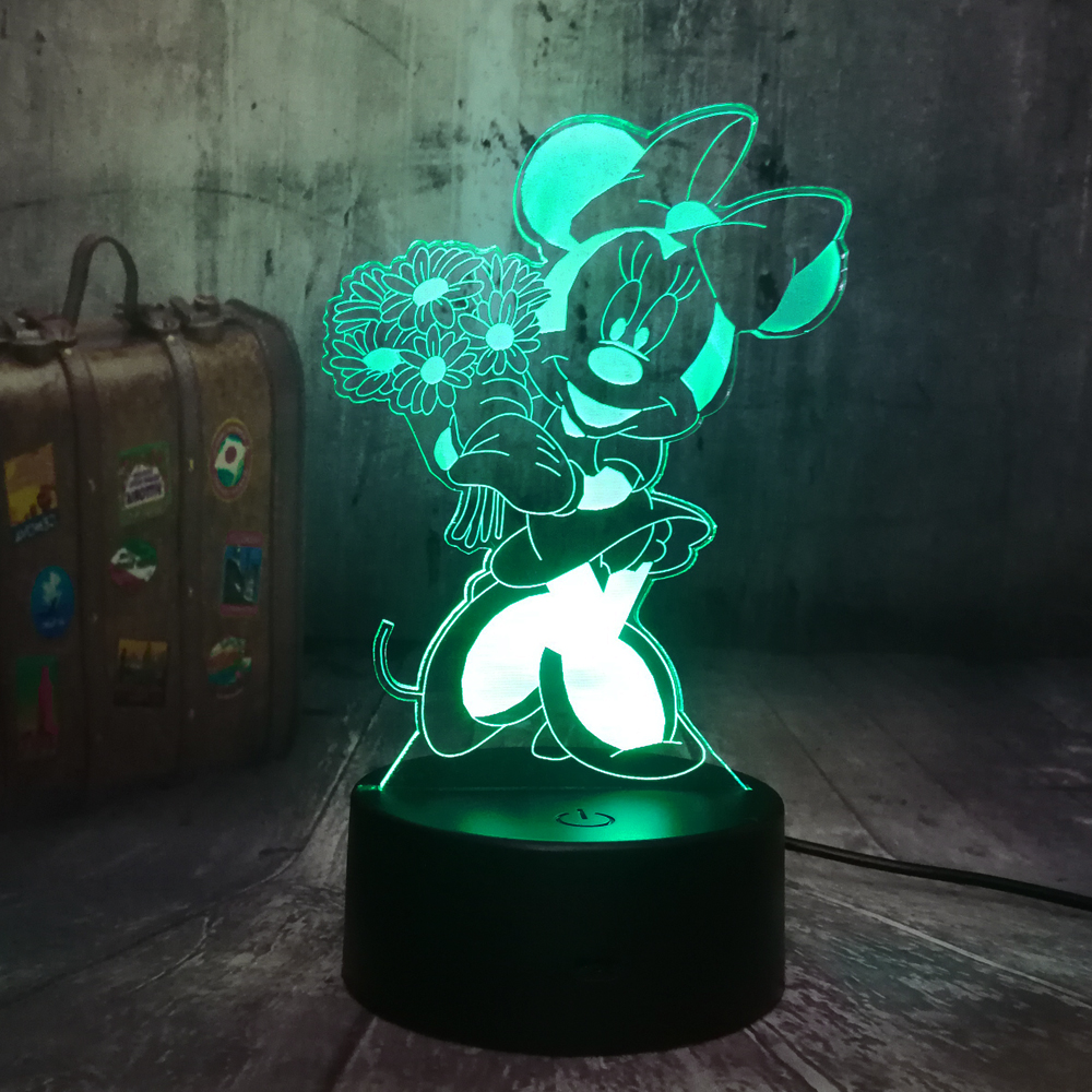 Minnie Mouse Pink Purpl Baby Children Nursery Table Lamp Night Light Touch Lamp