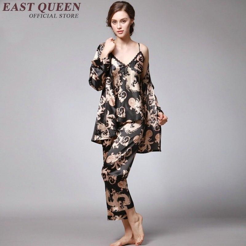 Home clothing robe gown set silk pyjamas women pajamas for women satin robe pajama set satin sleepwear female   KK1352 H silk