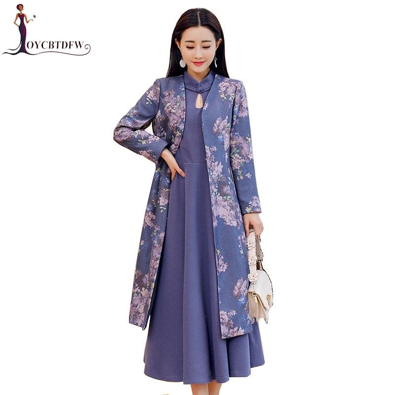Impression Femmes De National Fashion082 Robe Qualité Deux Haute Color Printemps Costume Grande pièce Style Taille Rétro 2018 Photo Tempérament j5A4RL