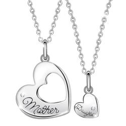 EUDORA 925 argent Sterling populaire mère et fille coeur collier femmes amour