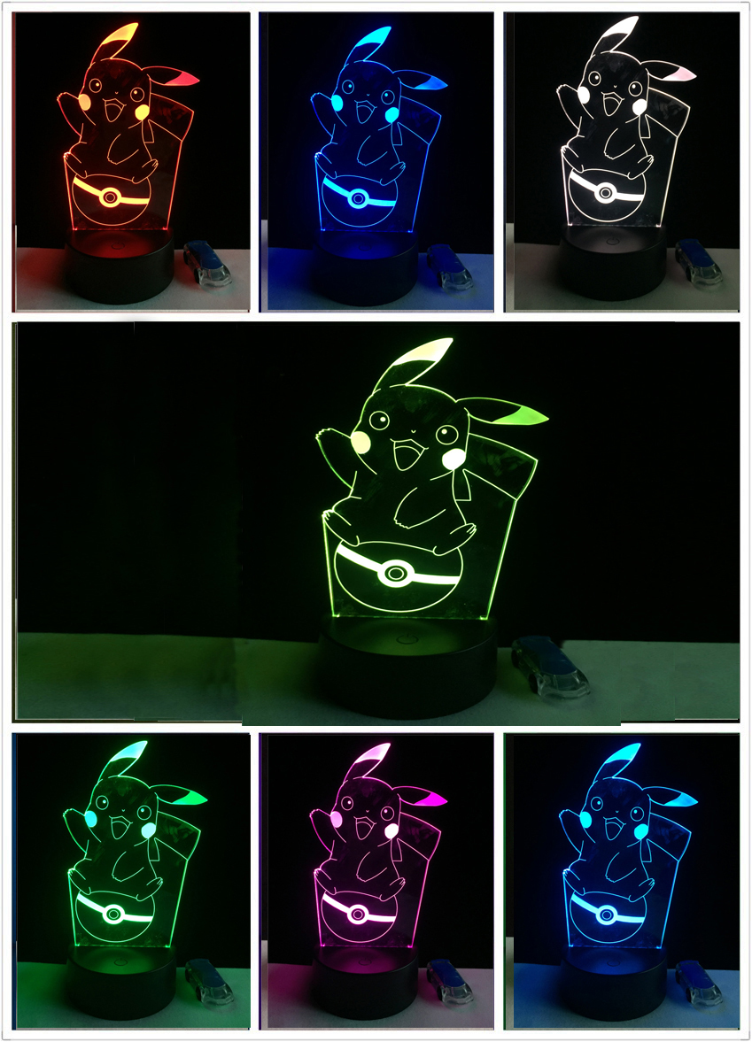 Pikachu 3D Atmosphere 7 Color Changing Lamp Pokemon Go Action Figure visual illusion LED Holiday  Christmas Gifts Night Light creative 3d visual color changing led touching night light