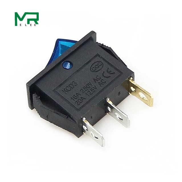 KCD3-interruptor basculante, encendido-apagado, 2 posiciones, 3 pines, para equipos eléctricos con interruptor de luz de 16A, 250V CA, 20a, 125V CA, 35mm x 31mm x 14mm